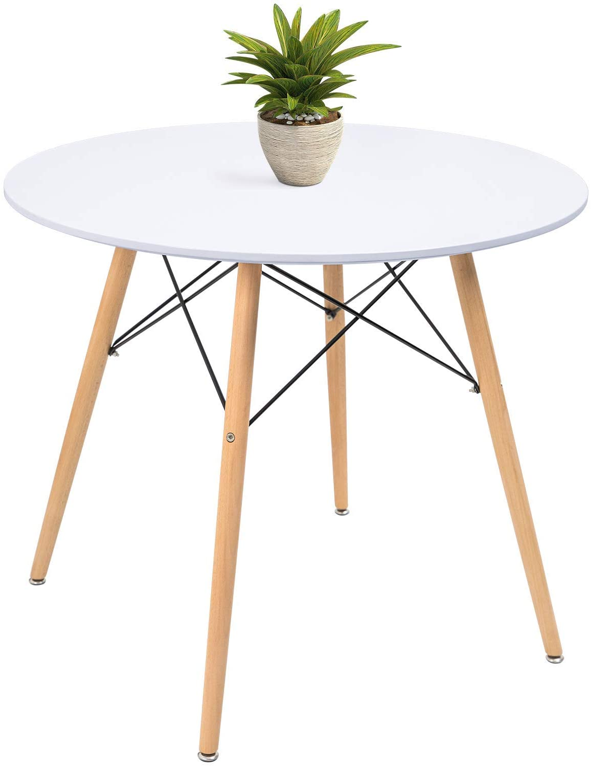 Amazon Com Kaimeng White Round Dining Table 32 Modern Pedestal Small Circle Room Table Leisure Tea Coffee Kitchen Table White Tables
