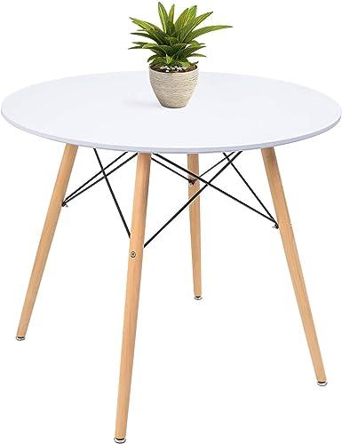 KaiMeng White Round Dining Table 32″ Modern Pedestal Small Circle Room Table Leisure Tea Coffee Kitchen Table White