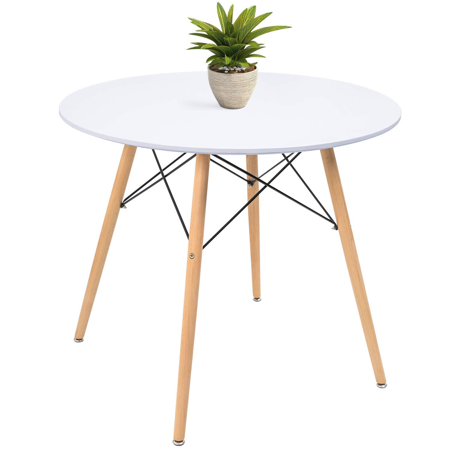 KaiMeng White Kitchen Dining Table Round Modern Coffee Table Leisure Style Tea Table Office Conference Pedestal Desk