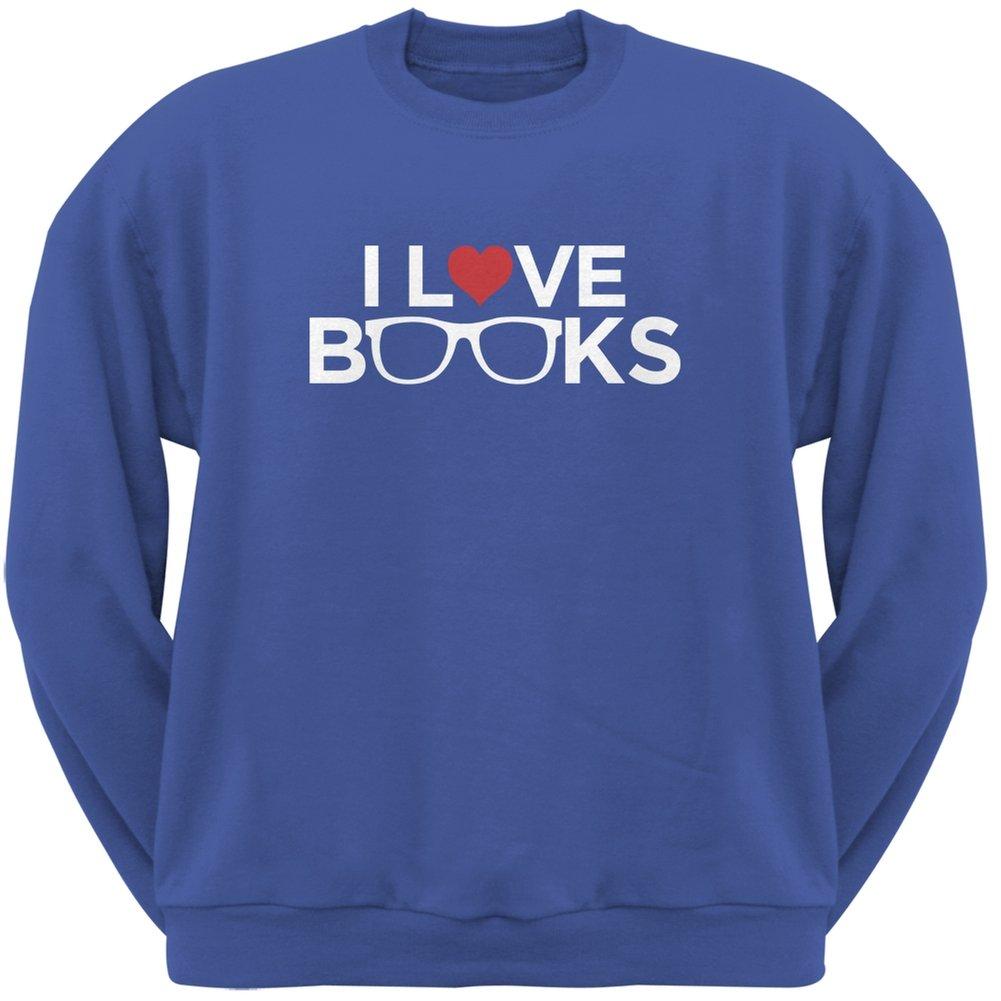 I Love Books Blue Adult Sweatshirt