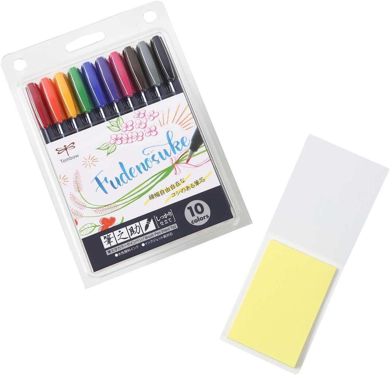 set de caligrafia brush pen Tombow Fudenosuke x10