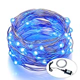 Outdoor String Lights ITART LED String Lights Blue Fairy Starry light Ultra Thin Silver Wire with Waterproof Adapter UL Listed for Patio Party Wedding (33ft, 100 LEDs)