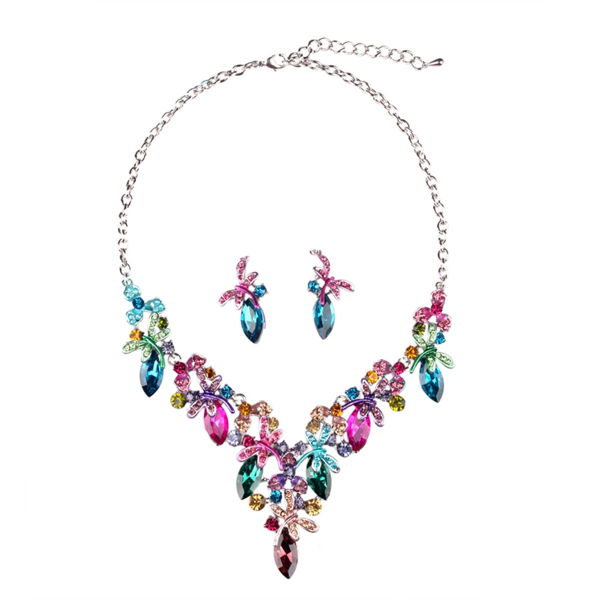 Hamer Costume Jewelry Hand Painting Crystal Choker Pendant Statement Chain Charm Necklace Earrings Sets Women (Multicolor, Alloy)