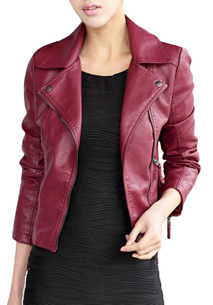 Women's Zipper Motorcycle Biker Faux Leather Jackets DXPY005