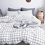 Black and White Duvet NANKO Queen Duvet Cover Set Grid, 90x90 Soft Bedding Cover, Luxury Cool Lightweight Microfiber 3pc Set (1 Cover 2 Pillowcase) with Zip, Tie - Best Modern Style Bed Quilt Cover for Decor, Plaid White