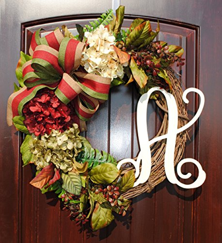 Fall Hydrangea Monogram Wreath with Striped Ribbon Bow and White or Cream Monogram on Grapevine Base in 20-22