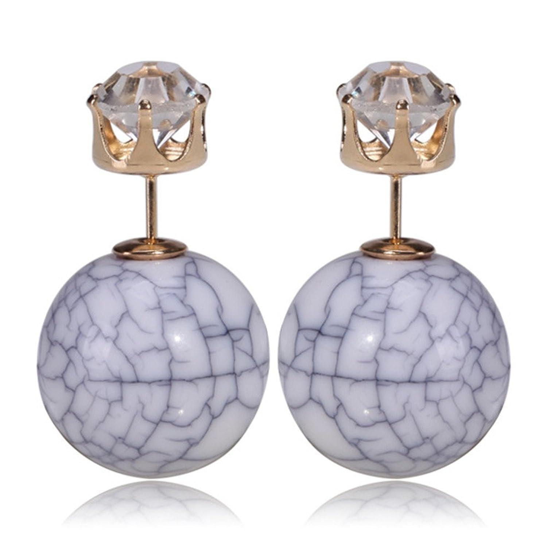 Dana Carrie Tornillos de oreja zircon aretes con perla blanca oreja ornamentos ornamentos blancos de mármol