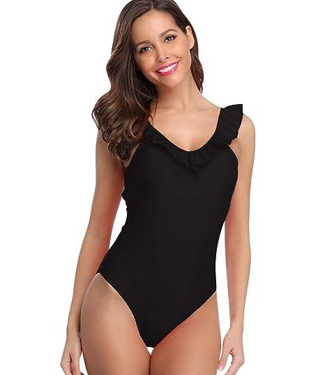 6eeebc16d7d9 Bañador Espalda al Aire Escote V Vientre Plano Una Pieza Traje de Baño  Mujer Bañadores Playa Natacion Mujer Bikinis con Relleno Monokini Bikini ...