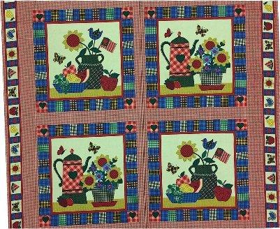 Americana Gingham Kitchen Vase Flowers Cotton Fabric Panel Pillow Wall (Fabric Panel Pillow Wall Hanging)