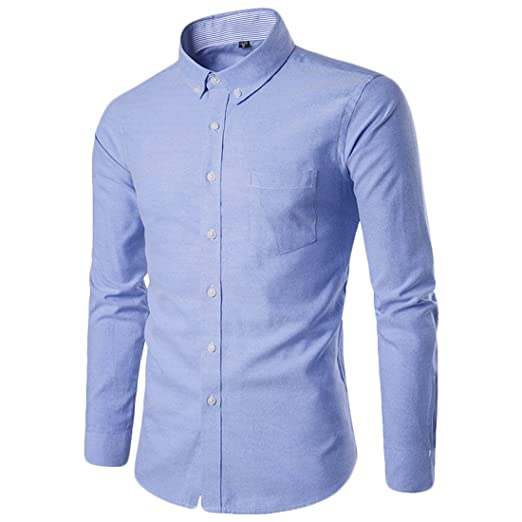 dd25e1f60f2 Image Unavailable. Image not available for. Color  MLG Mens Casual Solid  Slim Oxford Button Down Dress Shirts Light blue ...