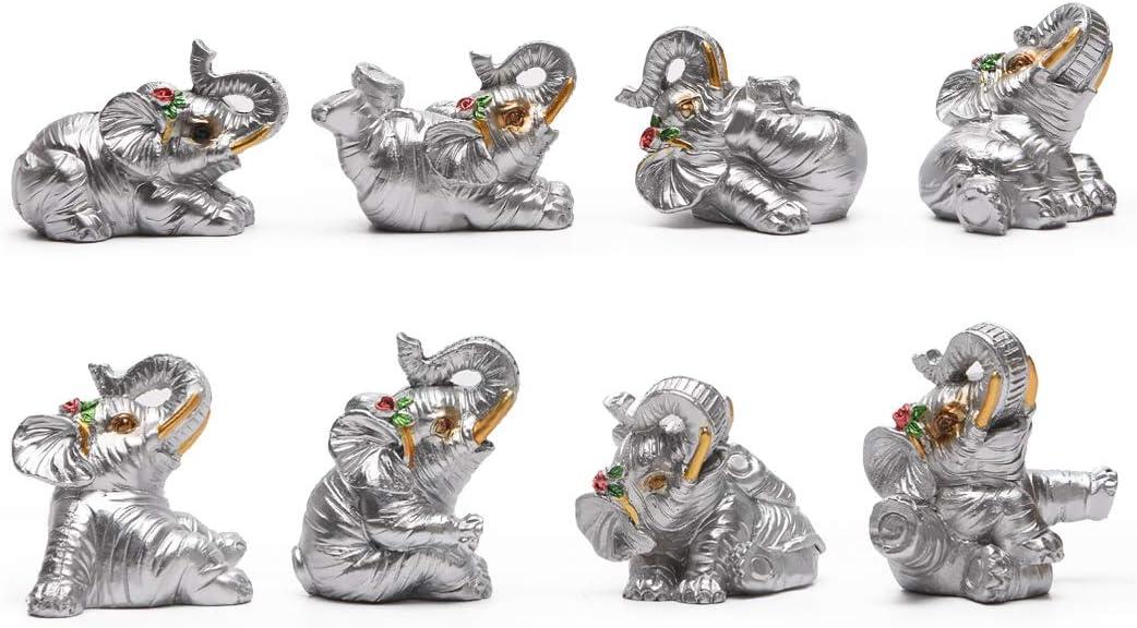 "BRASSTAR Resin Statue Eight Elephants Wedding gift1.8"" Home Office Feng Shui Decor Collection Spirit Animal Talisman Figurine Love Wealth Luck Gather PTZD049 (Silver)"