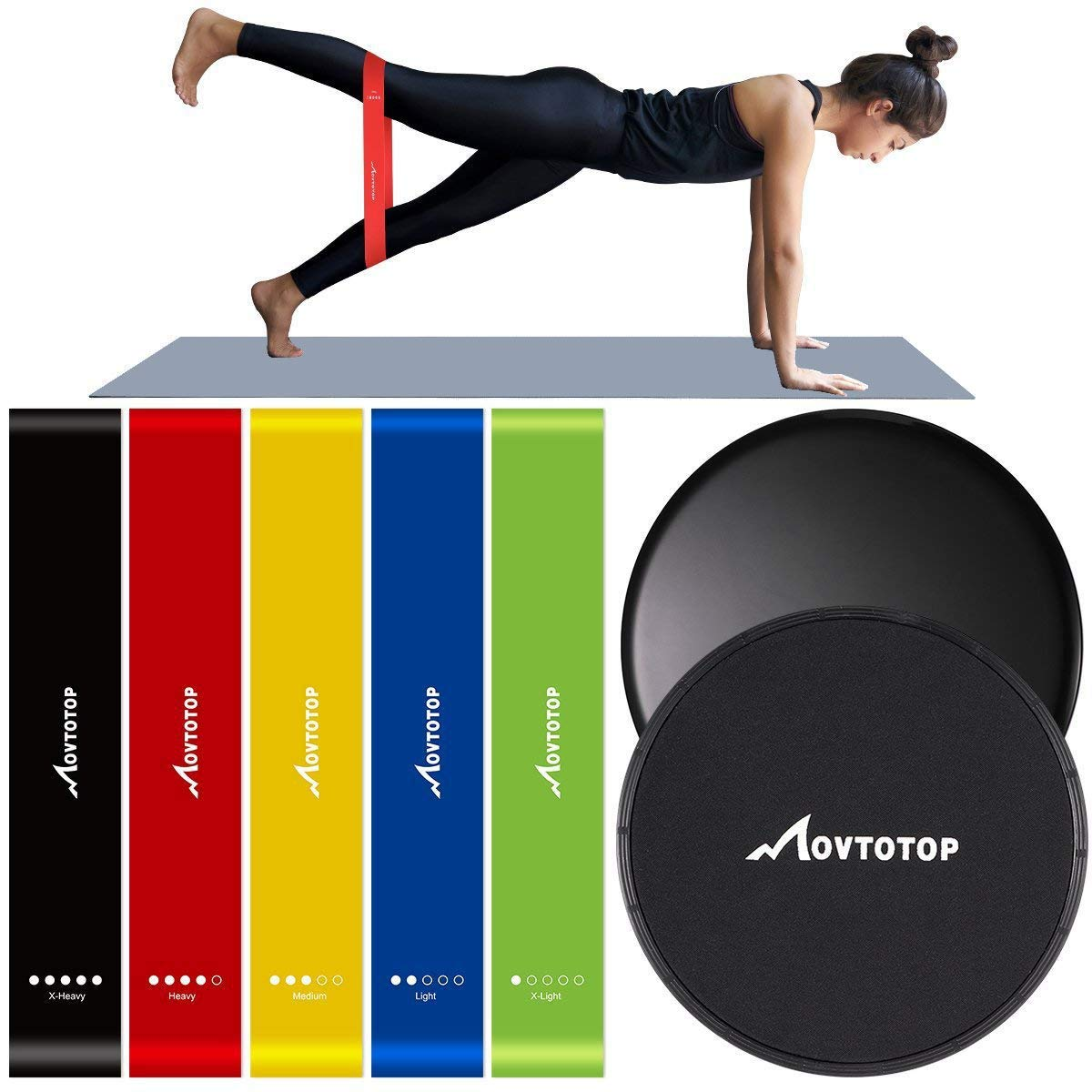 MOVTOTOP Resistance Bands and Core sliders-Set of 7- Professional Exercise Bands for Legs and Butt, Arms and Shoulders, Portable Workout loops for Women Men Fitness Yoga