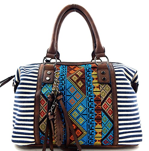 MMS Design Studio Zip Top Boho Boston Bag w/Charm + Strap- Navy Stripes ()