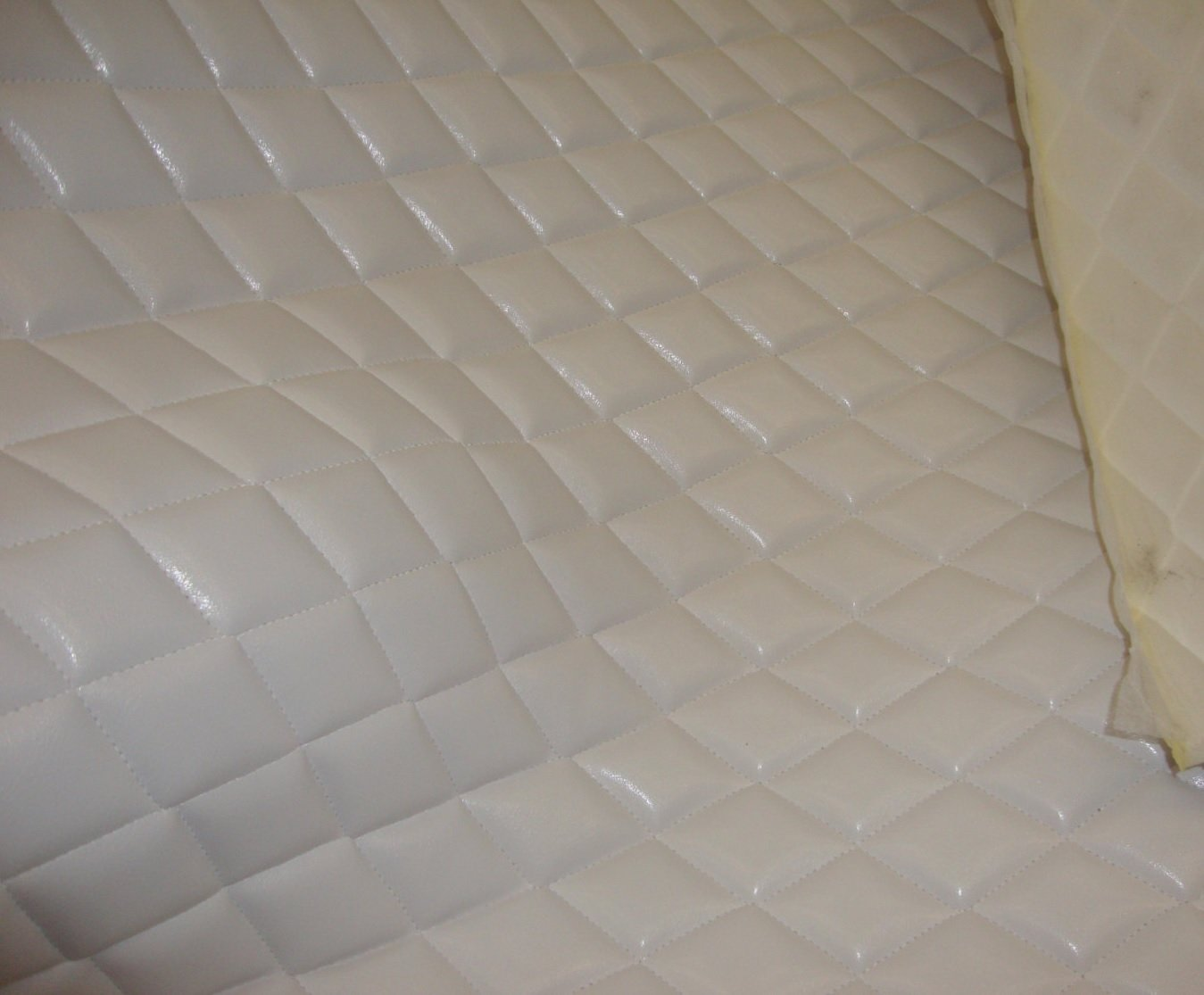 "luvfabrics White Faux Leather Quilted Vinyl Fabric with 3/8"" Foam Backing Upholstery"