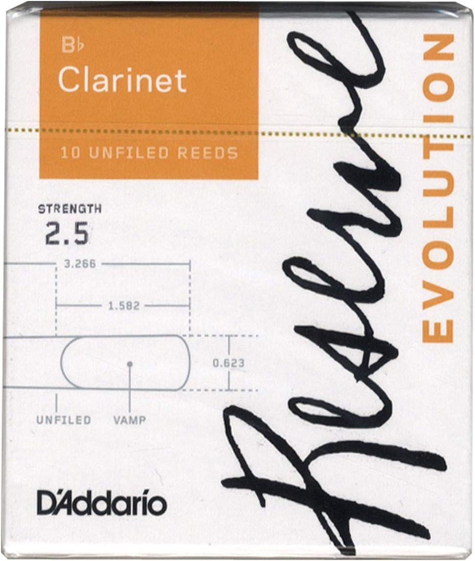 Bb Clarinet #2.5//3.0-4-pack D/'Addario Reserve DRS-C25 Reed Sampler Pack