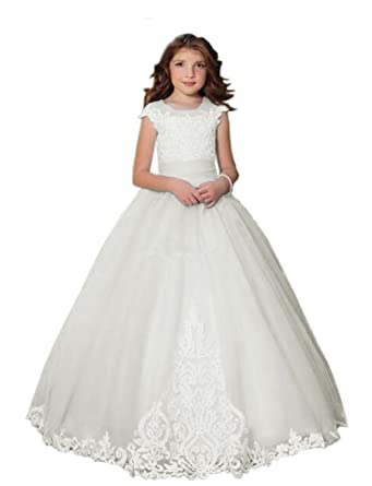 Amazon.com: Lilis Flower Girl\'s Ball Gown Wedding Dress Lace ...
