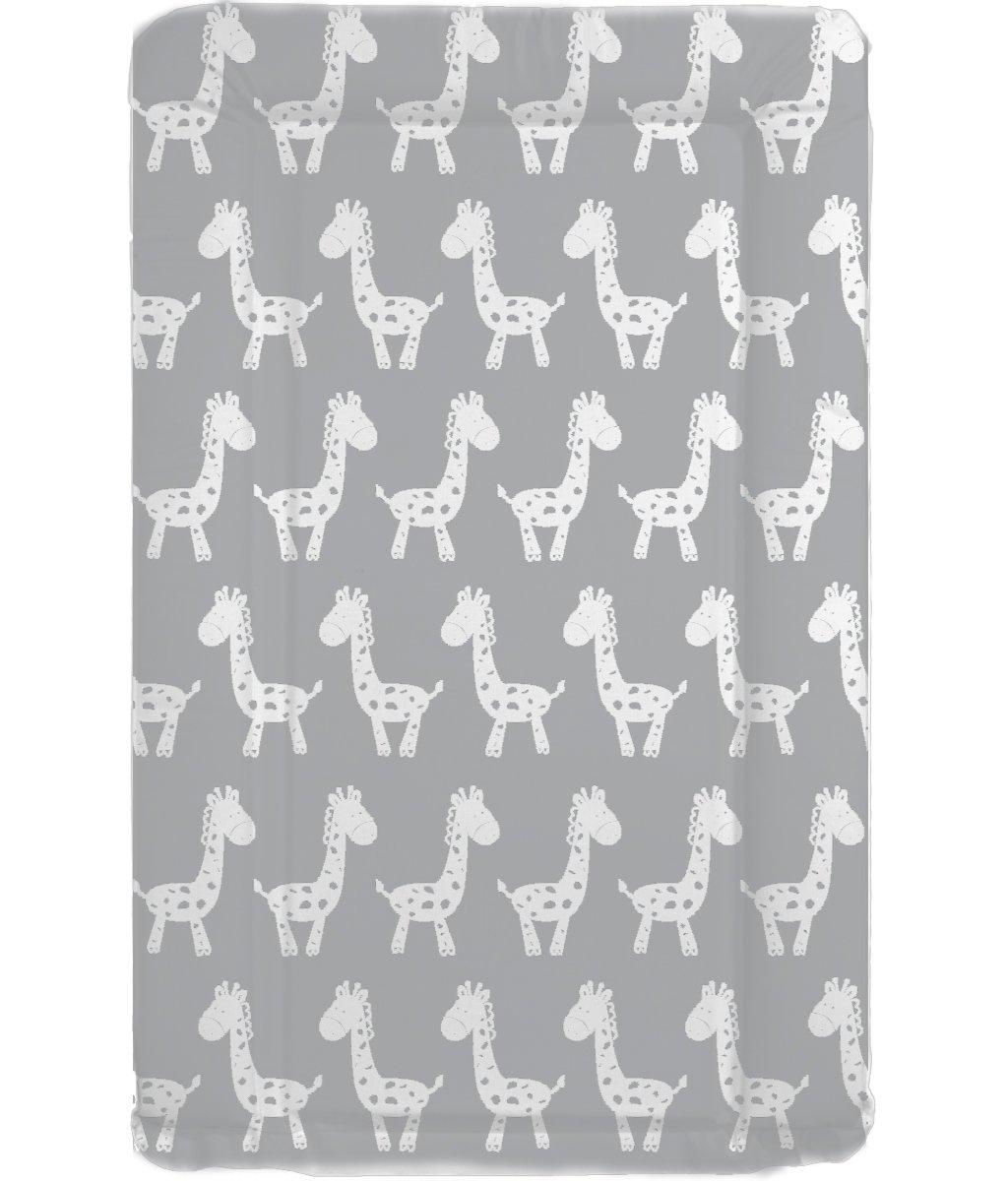 Tapis à langer pour bébé Unisexe imperméable de luxe avec bords surélevés–Design Gris et Blanc Girafe unique babieswithlove