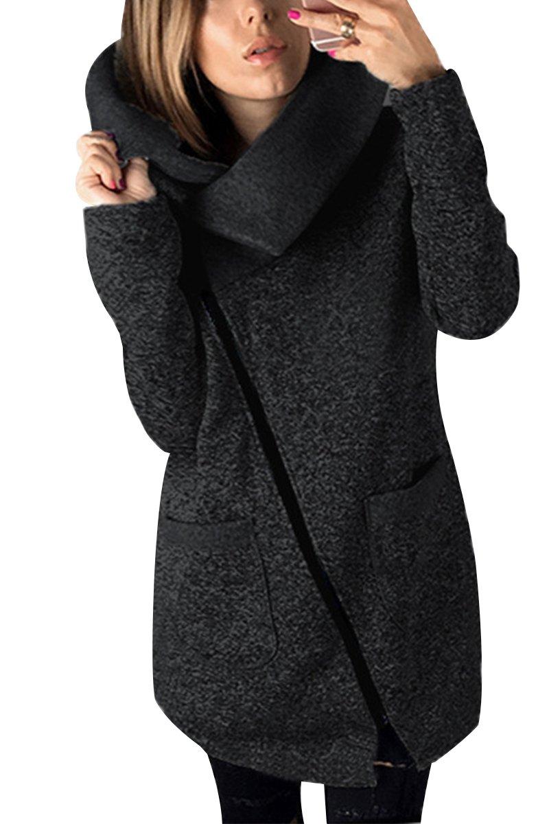 Bai You Mei Womens Fashion Sweaters Dresses Long Sleeve Casual Plus Size Tilt Zipper Warm Jacket Coat Dark Gray 3XL