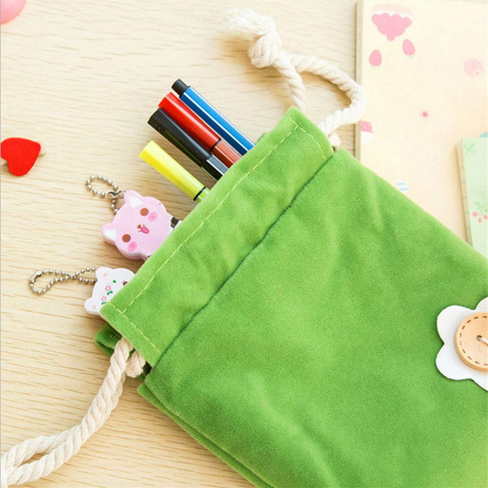 STOBOK 5pcs Coloured Drawstring Small Items Bag Flannel Cloth Bags Small Bag Gift Bag Purses 5 Colours