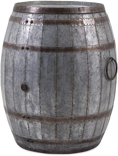 IMAX Vineyard Wine Barrel Storage Table Vintage Inspired Iron Barrel