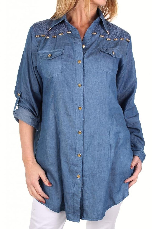 Amazon 4006 3 Womens Plus Size Chambray Jean Shirt Dark Blue