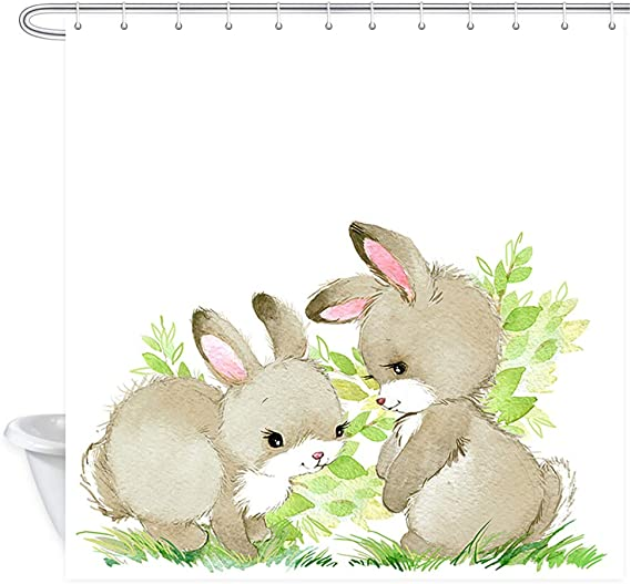 Nymb Spring Cute Bunny Rabbit Festival Shower Curtains Watercolor Animal Easter Bunny With Easter Eggs In Green Fresh Grass Polyester Fabric Easter Shower Curtain Bathroom Accessory Sets 69x70in Home Kitchen