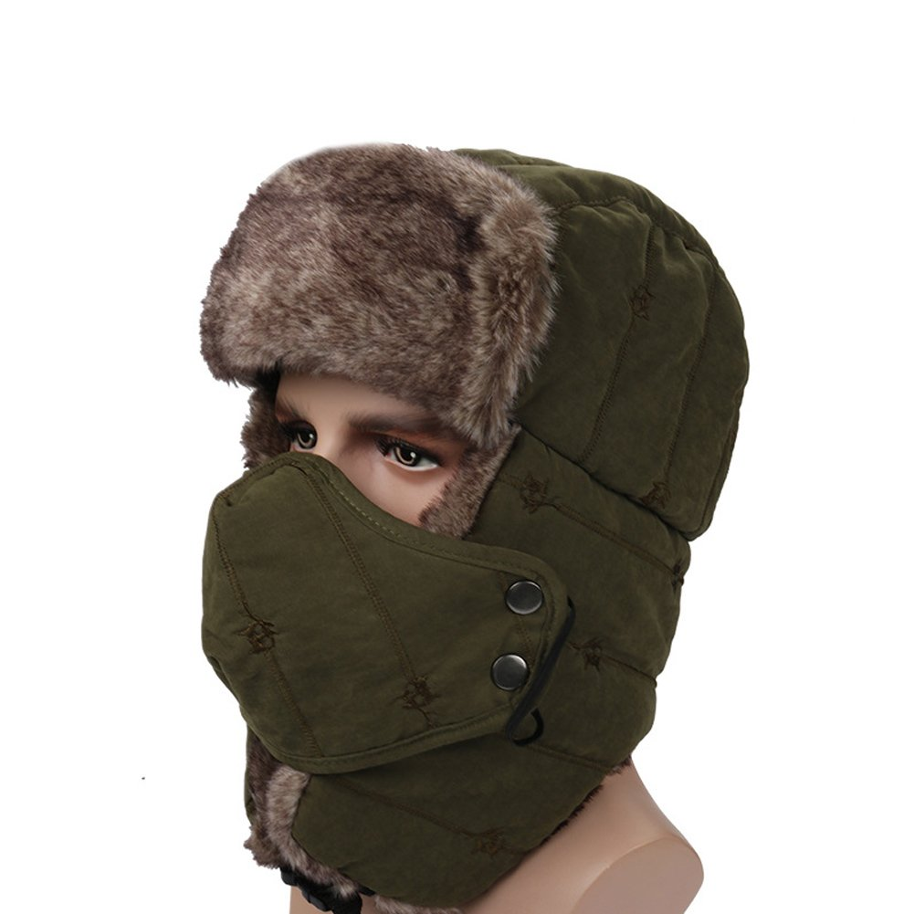 8d3267a88de5c Amazon.com   Leories Winter Trapper Trooper Hat Windproof Warm Camouflage  Mask Ear Flaps Outdoor Sports Walking Skiing Hunting Hat Army Green    Clothing
