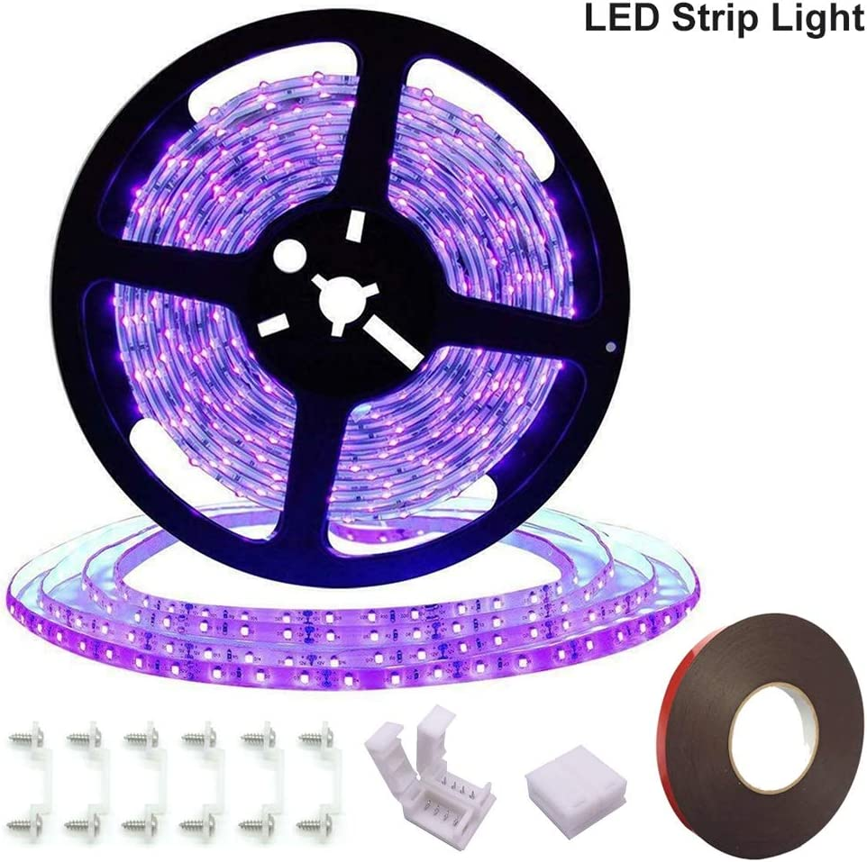 for Night Fishing Super Bright 60 Watts UV Black Light LED Strip 16.4FT//5M 3528 300LEDs 395nm-405nm Non-Waterproof Blacklight with 12V 5A Power Supply Black Party