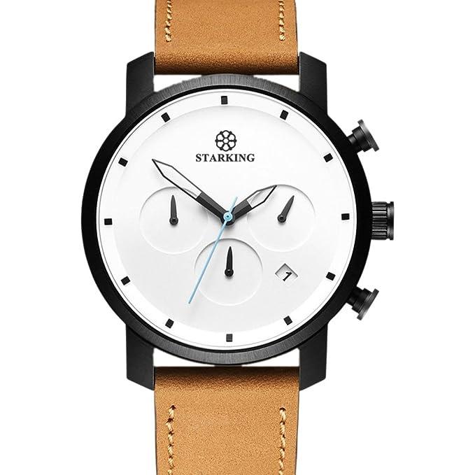 Amazon.com: STARKING Top Brand Luxury Mens Wrist Watch TM0913 Leather Watch Men Casual Style Fashion Minimal Waterproof Watches Scratch Proof Male: Watches