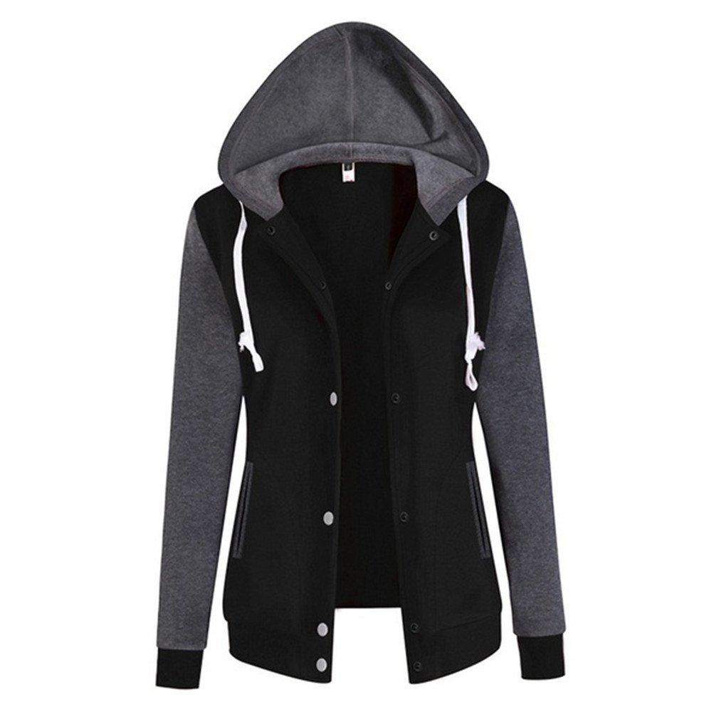 Meolin Women Long Sleeve Baseball Jackets Slim Fit Bomber Club Varsity Jacket,black,L