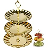 Fruit Plate, 3 Tier Cakes Desserts Stainless Steel Cupcake Plate Stand, Party Supplies Plate- Gold Color