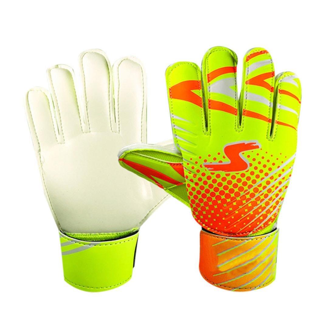Fineserプロサッカーゴールキーパーグローブ、指保護Goalie Gloves for Kids B07C9TGV1Jオレンジ