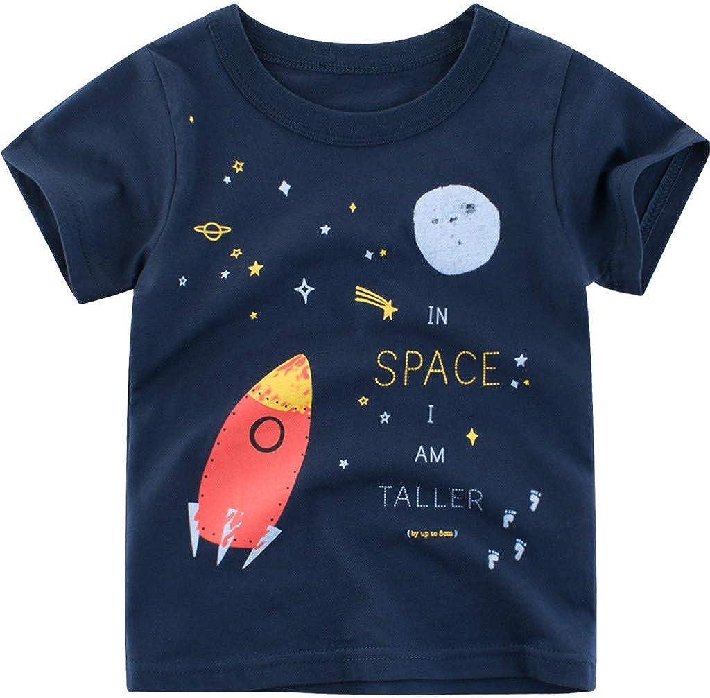 TIANRUN Toddler Baby Boys Girls Tops Cartoon Print Tees Kids Cotton Clothes Summer Short Sleeves T-Shirts