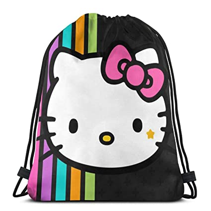 c814a42f2 Image Unavailable. Image not available for. Color: MPJTJGWZ Classic  Drawstring Bag-Hello Kitty Gym Backpack Shoulder Bags Sport Storage Bag for  Man