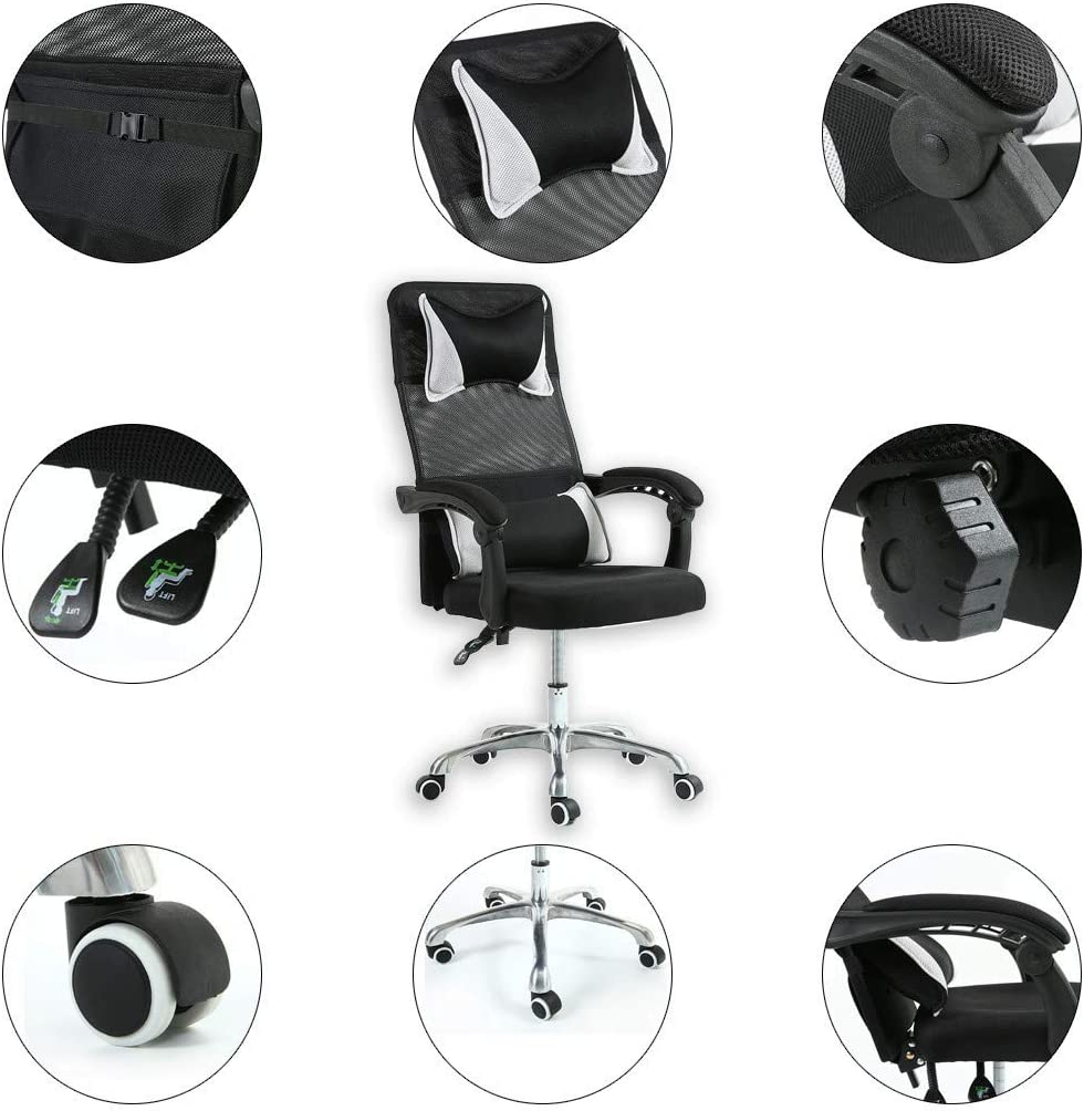 19/×19/×44-48inch, Black Office Chair,Reception Chairs Conference Lift Chair Swivel Chair Staff Chair Home Computer Chair Mesh Chair Adjustable Armrest lkoezi