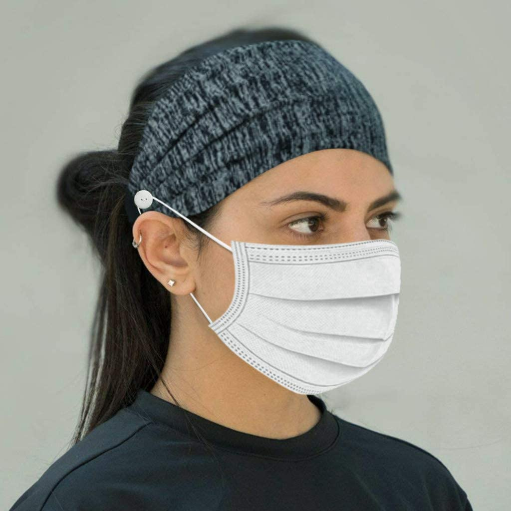 Hair Band for Sports to Quick Dry Sweat Tuuu Fashion Headbands with Buttons for Mask Holder Elastic Sweat Band Headband to Protect Ears