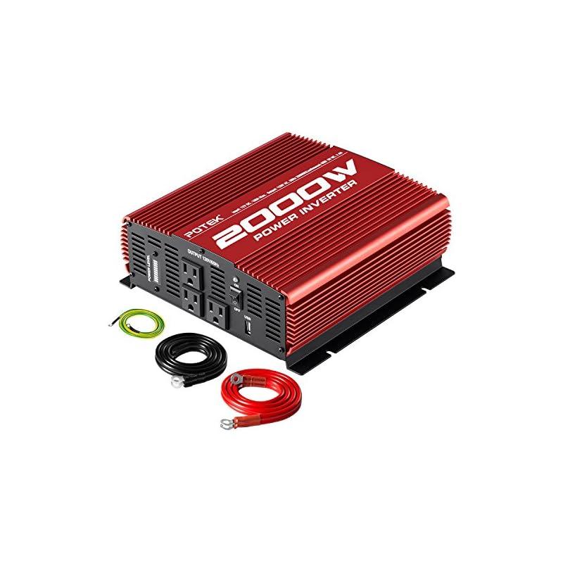 POTEK 2000W Car Power Inverter 12V DC to 110V AC Power Inverter with 3AC ports