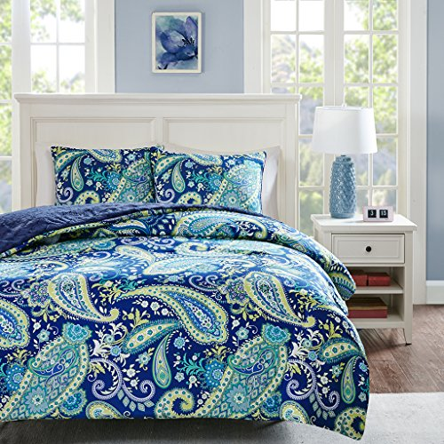 Intelligent Design Melissa Twin Size Bed Comforter Set Navy Green