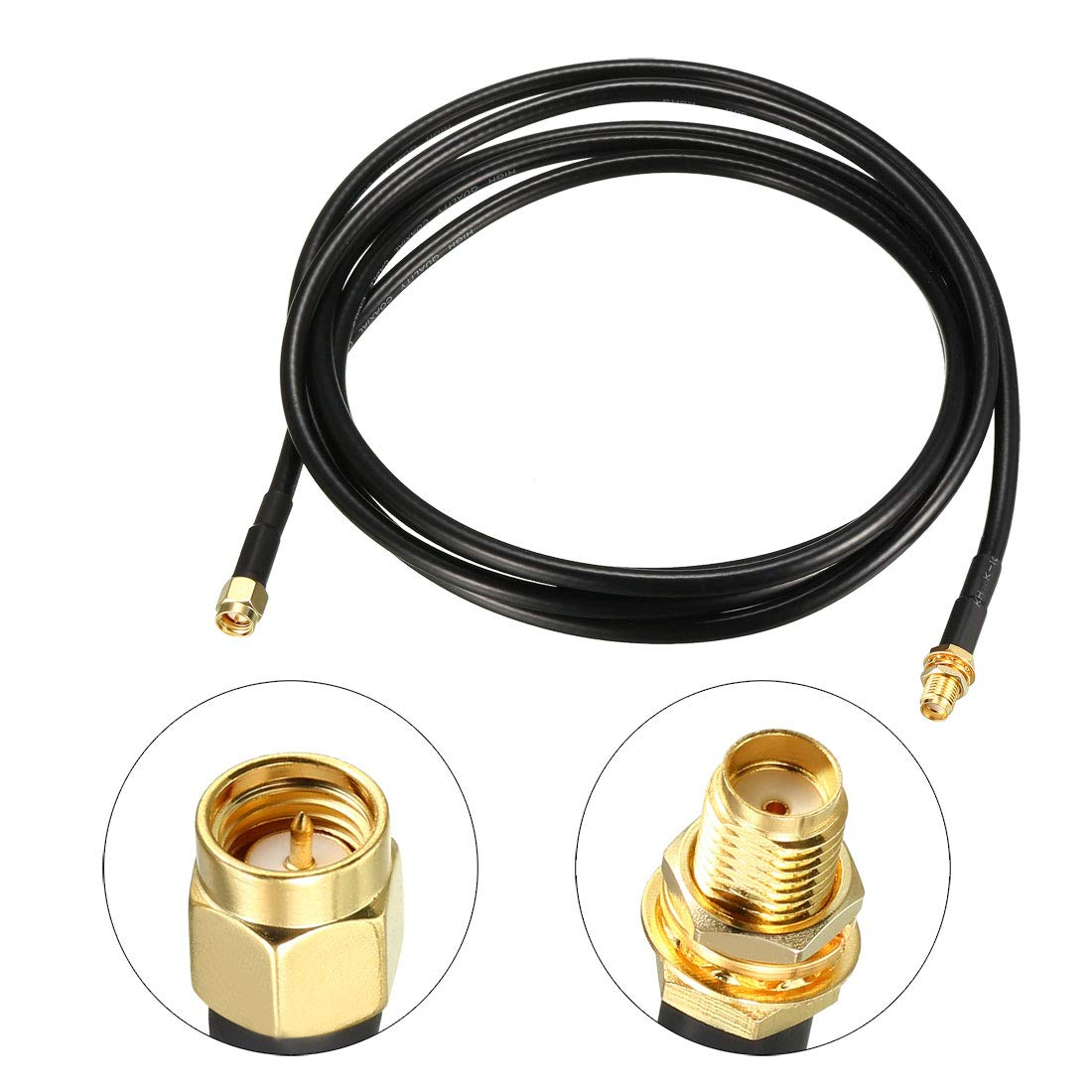 uxcell Antenna Extension Cable SMA Male to SMA Male Coaxial Cable RG58 50 Ohm 1 ft