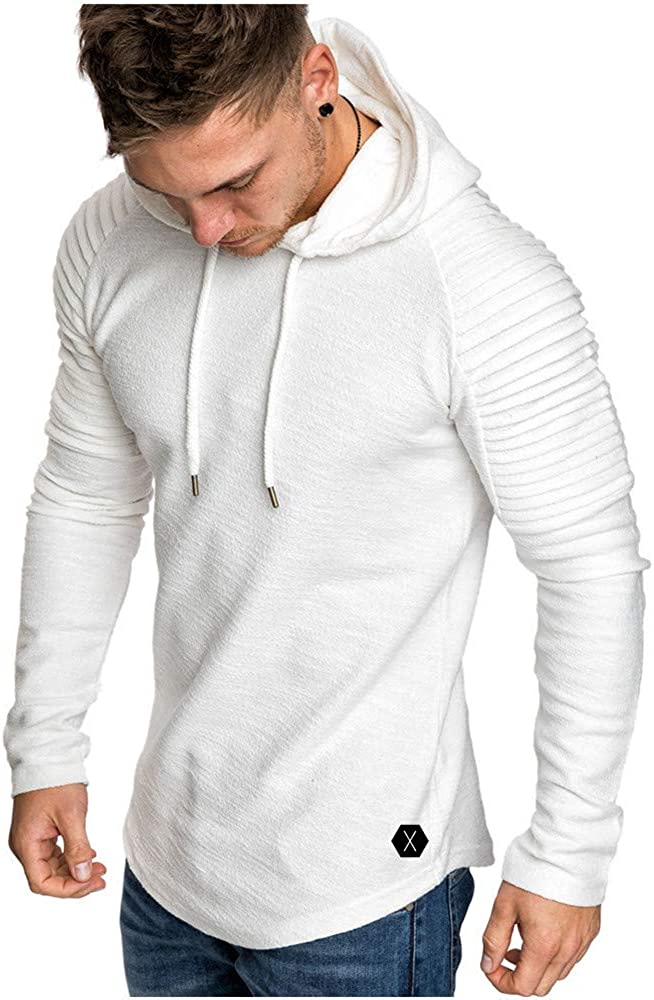 ODORKI Mens Fashion Athletic Hoodies Casual Sport Sweatshirt Workout Lightweight Fleece Pullover Solid Color