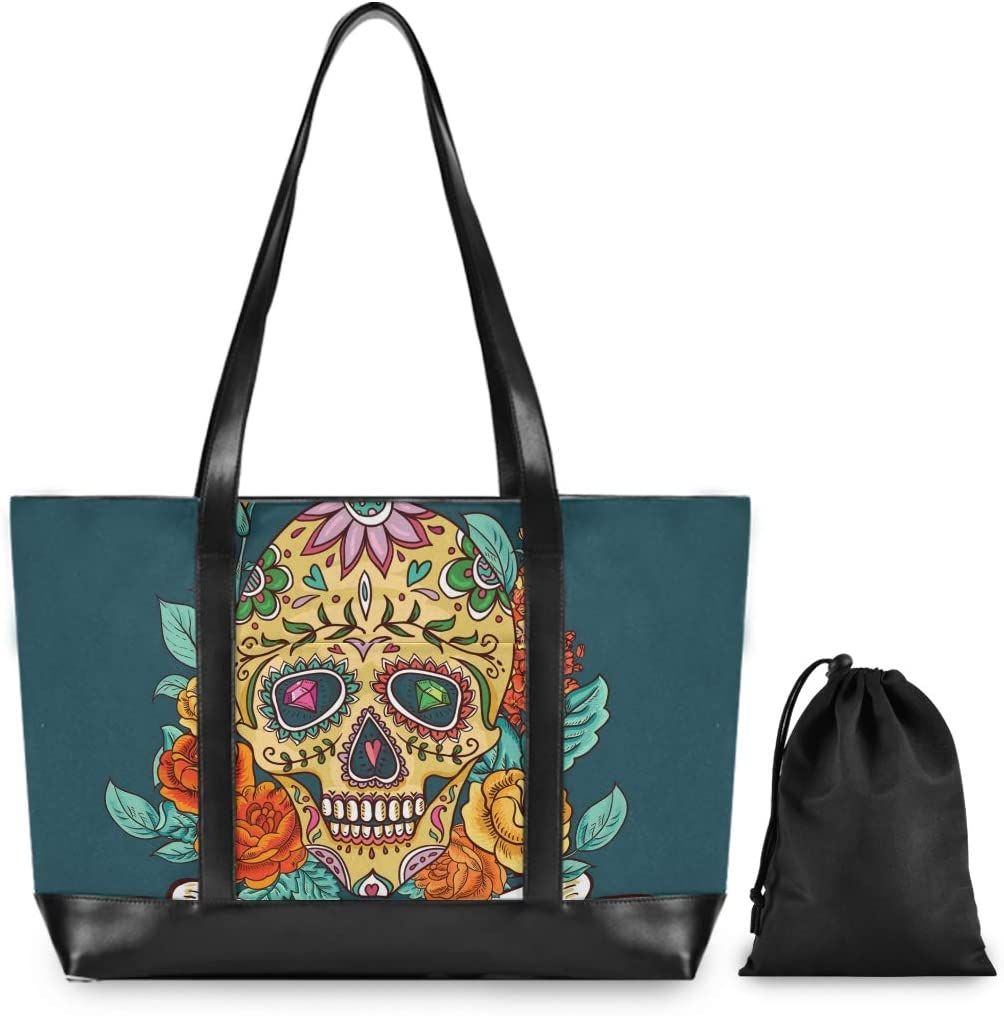 Large Woman Laptop Tote Bag Skull Canvas Shoulder Tote Bag Fit 15.6 Inch Computer Ladies Briefcase for Work School Travel Hiking