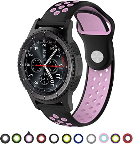 Willibill Gear S3 Bands Soft Silicone Replacement for Band Samsung Gear S3 Frontier/Classic Smart Watch/Huawei Watch 2 Classic Smartwatch (Black-Pink, ...