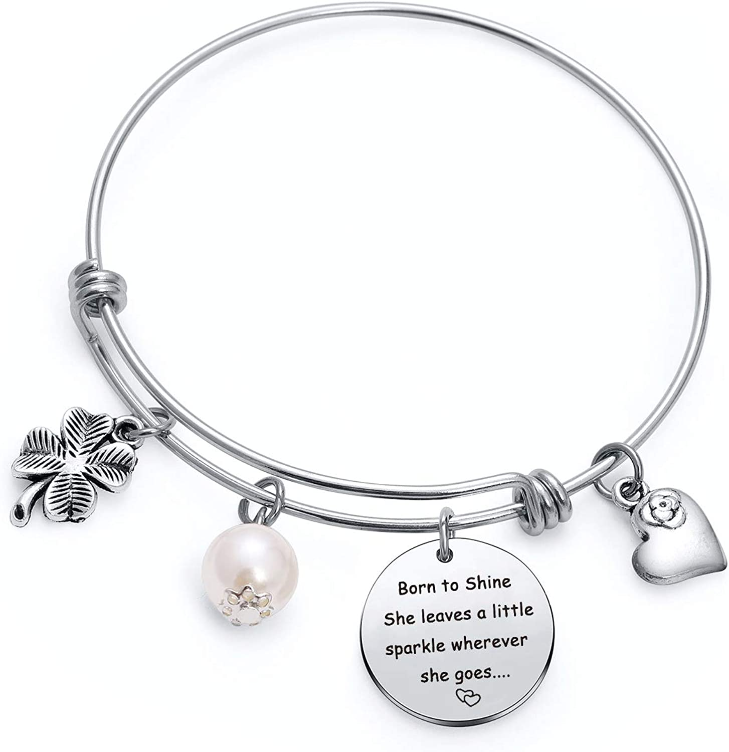 She leaves a little sparkle wherever she goes Inspirational Jewelry for Friends Daughter sister Bracelet