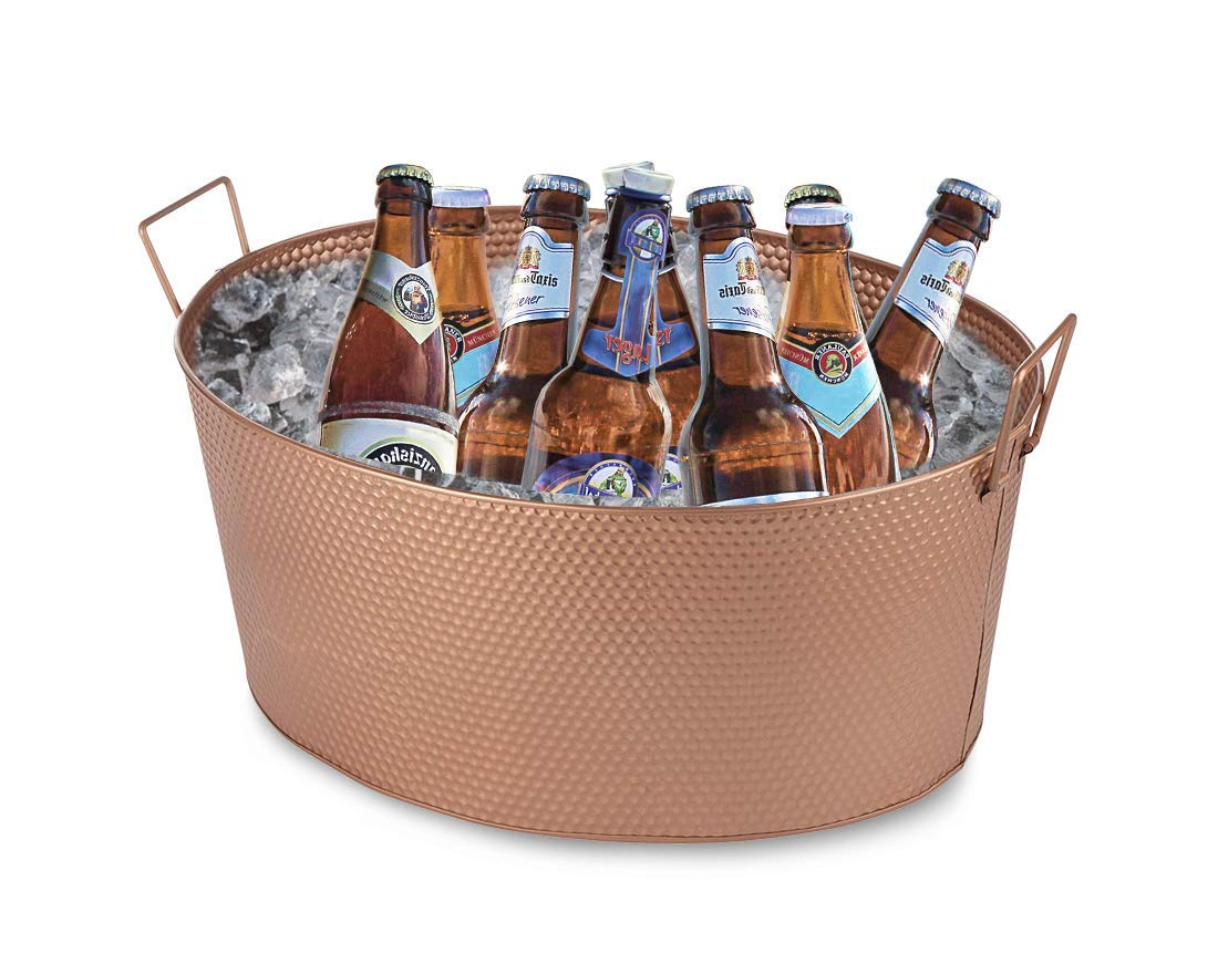 Galvanized Beverage Tub - 5-Gallon Steel Beer and Ice Drink Tub - Great Party Accessory, Hammered Texture, Rose Gold, 17.4 x 13.2 x 7.4 Inches