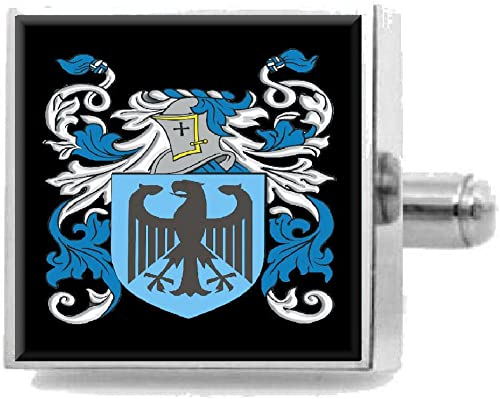 Select Gifts Haslett England Family Crest Surname Coat Of Arms Cufflinks Personalised Case