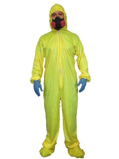 Disfraz de Material Peligroso Amarillo y Máscara de Gas de Walter White de Serie Breaking Bad Heisenberg: Amazon.es: Juguetes y juegos