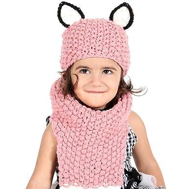 f56447ccbbe3c Enfants Casquette Manteau Tricot Capuche Cagoule Enfants Chapeau Hiver  Bonnet avec Écharpe Automne Tricot Chapeau Chaud