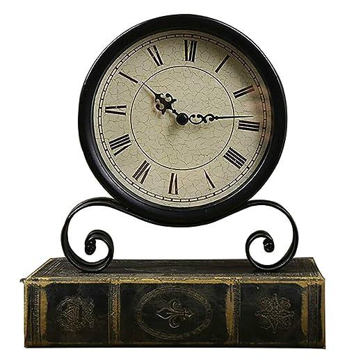 QMWY Reloj de Mesa de Metal Negro Vintage Europeo Sala de Estar ...