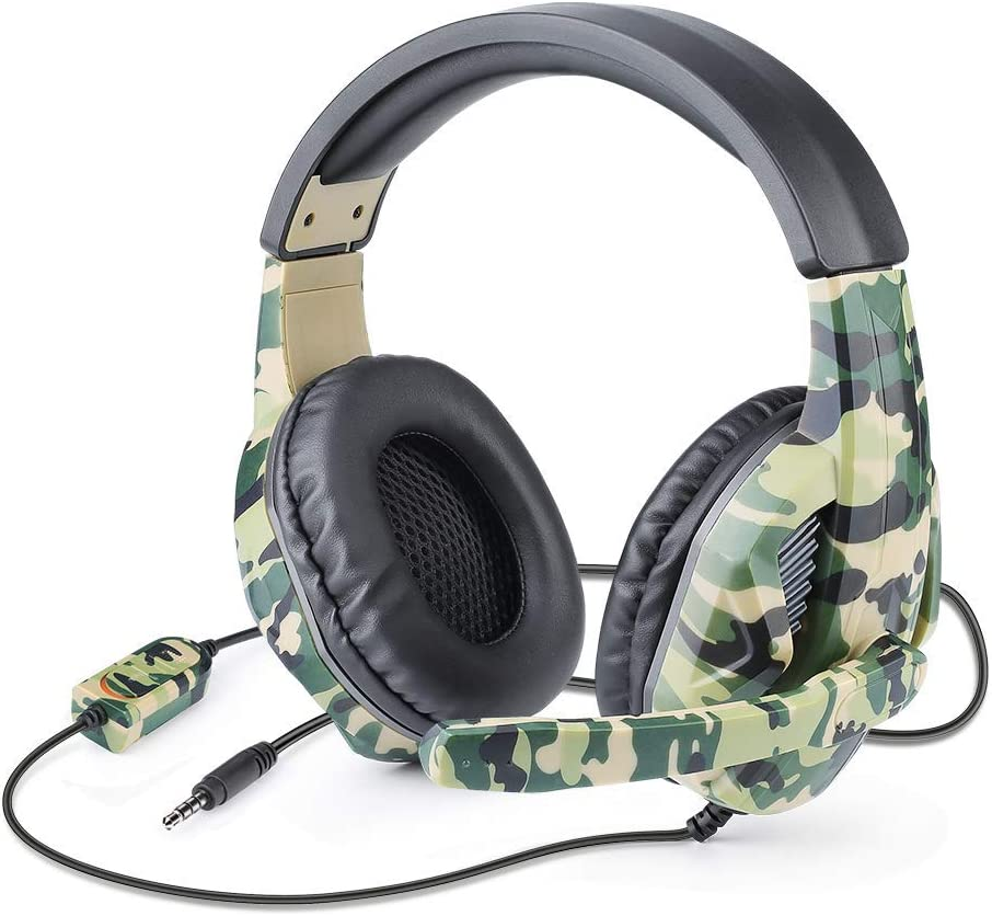 Picozon Gaming Headset with Microphone, 3.5mm Plug Headphone for PS4, Nintendo Switch, Playstation 4, Xbox One, Computer, Laptop, iPad, Surface, Smartphone - Camouflage Green