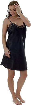 Marlon Ladies Charmeuse Satin Lace V Neck Chemise//Slip//Nightie Sizes 10-24